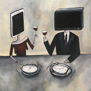 """<span class=""""title"""">Žrouti času</span><br>60 x 60, akryl na plátně, 2019, prodáno"""