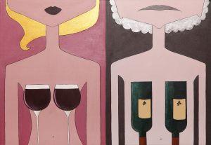 """<span class=""""title"""">In vino veritas</span><br>70 x 100, akryl na plátně, 2017, prodáno"""