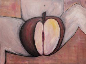 """<span class=""""title"""">Jablko hříchu</span><br>60 x 80, akryl na plátně, 2017, neprodejné"""