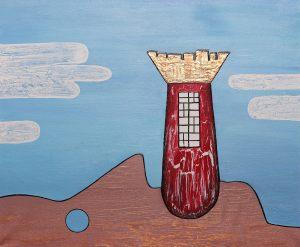 """<span class=""""title"""">Lež jako věž</span><br>50 x 60, akryl na plátně, 2017, prodáno"""