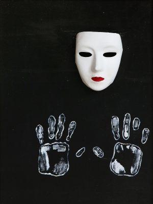 """<span class=""""title"""">Maska</span><br>60 x 70, akryl na plátně, 2017, neprodejné"""