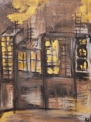 """<span class=""""title"""">Pošmourno</span><br>30 x 40, akryl na plátně, 2017, prodáno"""