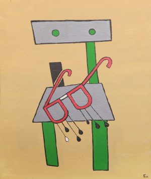 "<span class=""title"">Smutné brýle na židli</span><br>50 x 60, akryl na plátně, 2015, neprodejné"