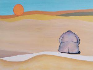 """<span class=""""title"""">Tučnák na poušti</span><br>70 x 50, akryl na plátně, 2019, k dispozici"""