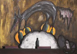 "<span class=""title"">Vlk v rauši beránčím</span><br>50 x 70, akryl na plátně, 2017, prodáno"